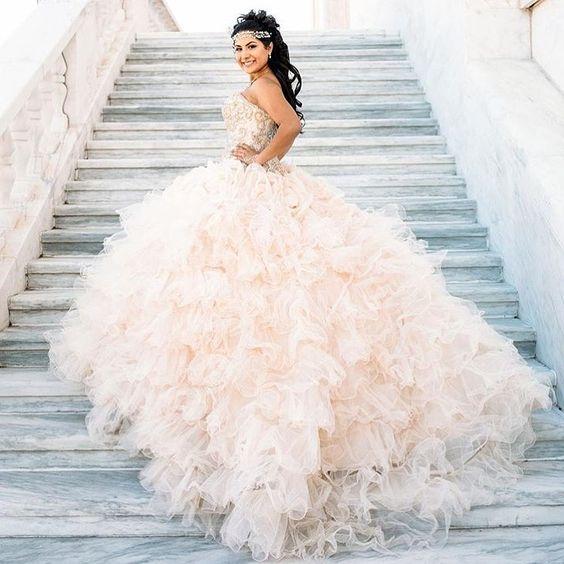 b2924c3307e Glitter Quinceanera Dress Modest Ball Gown Tulle Wedding Dress With ...