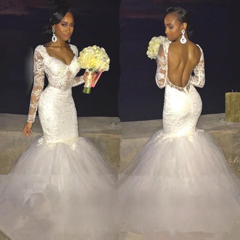 a20ab46cb7 Sexy Mermaid Lace Long-Sleeve Backless Wedding Dress · lovedress ...