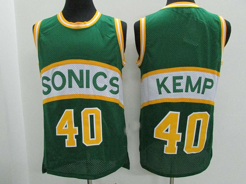 6a8d166e144 Mens Seattle Supersonics  40 Shawn Kemp Retro Basketball Jersey Green
