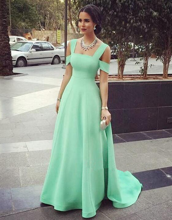 3e7dceb3f56b Modest Prom Gowns Elegant Mint Green Prom Dress Satin Evening Dresses For  Teen - Thumbnail 1 ...