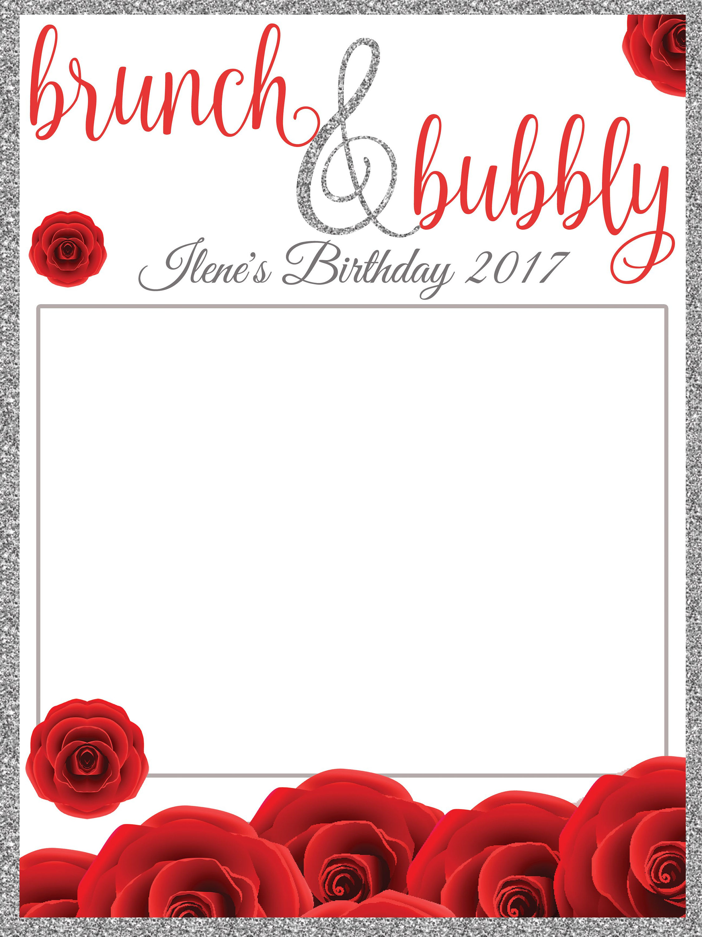 Large Personalized Brunch and bubbly Birthday photo booth prop frame ...