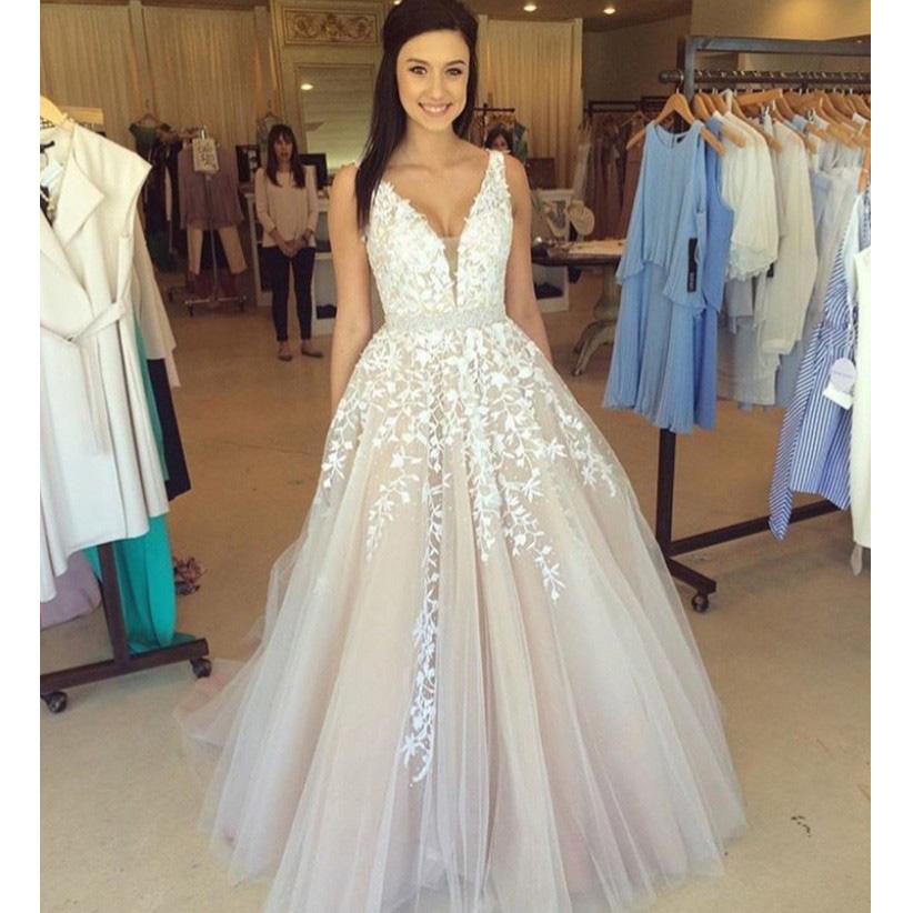 aa14e621c7187 Sexy Deep V Neck A-line Long Prom Dress, Princess Beaded Lace Appliques Gray