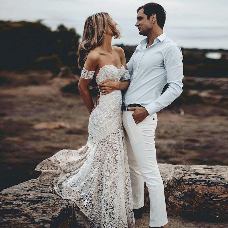 Mermaid Sweetheart Sweep Train Lace Beach Wedding Dress From Dressmeet