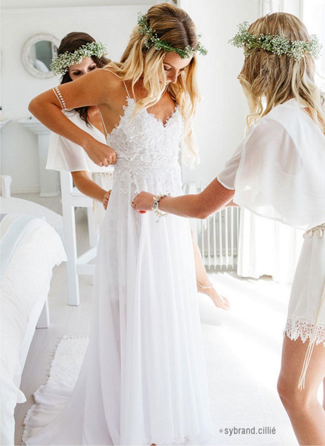 Spaghetti Straps White Long Chiffon Lace Beach Wedding Dresses Wedding Dress Simple Cheap Summer Wedding Gowns Bridal Dresses From 21weddingdresses