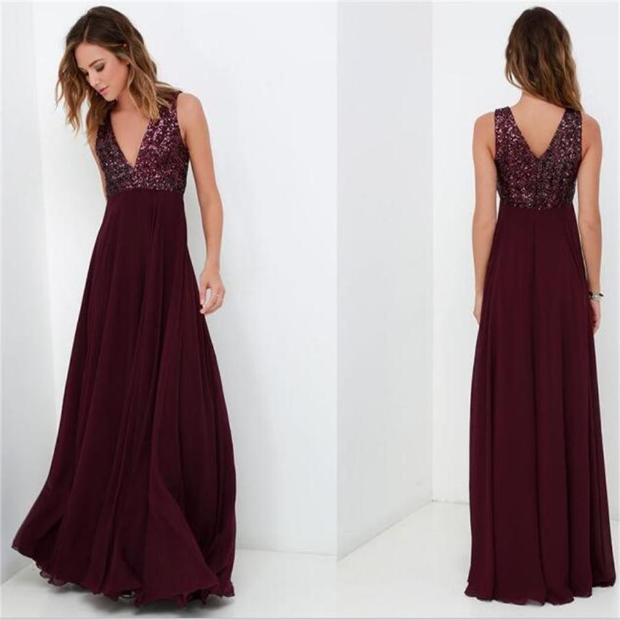 751fad25b7 A-line long v-neck top sequin Burgundy cheap chiffon prom dress ...