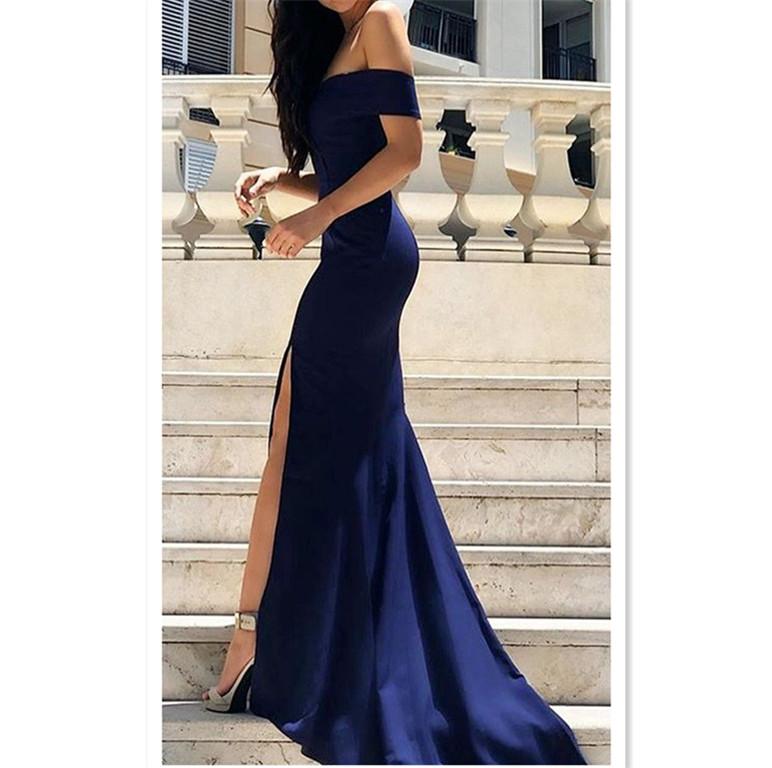 67c7c8b806f Sexy Leg Slit Long Mermaid Evening Dress Off Shoulder Prom Gowns Royal Blue  Prom Dresses