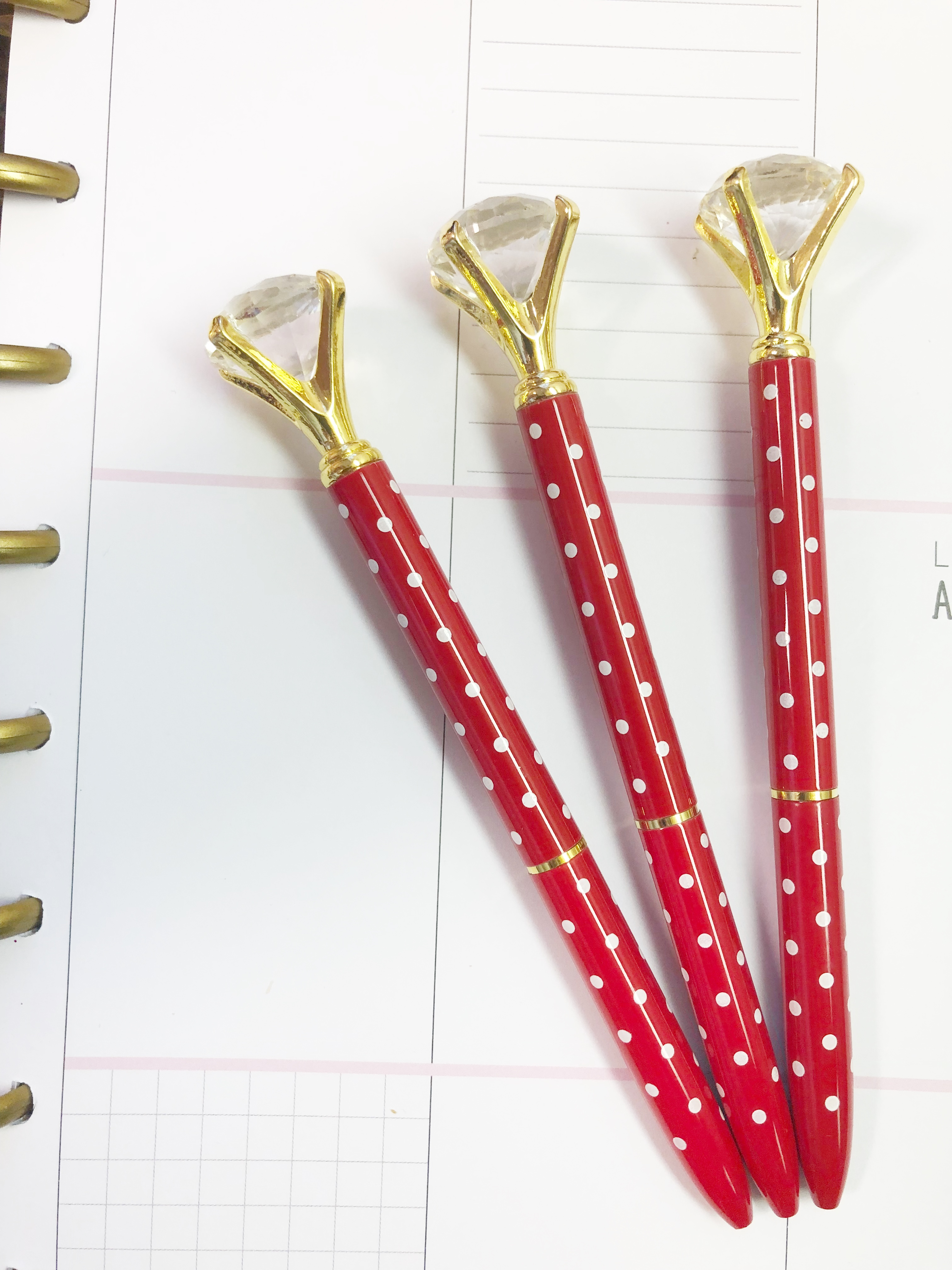 1f88202c9 Red White Polka Dot Diamond Pen on Storenvy