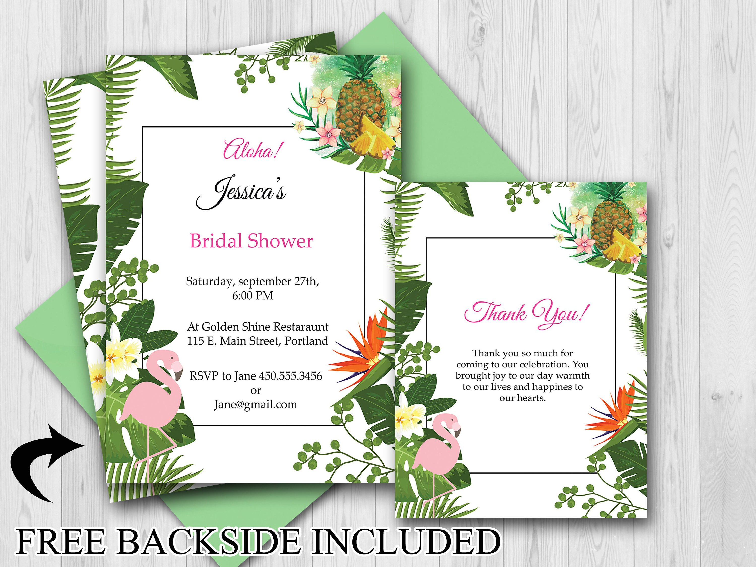 Large Custom Pineapple Bridal Shower Invitation Thank You Cards Flamingo Invite Bridal Shower Invite Tropical Bridal Shower 20000434 From