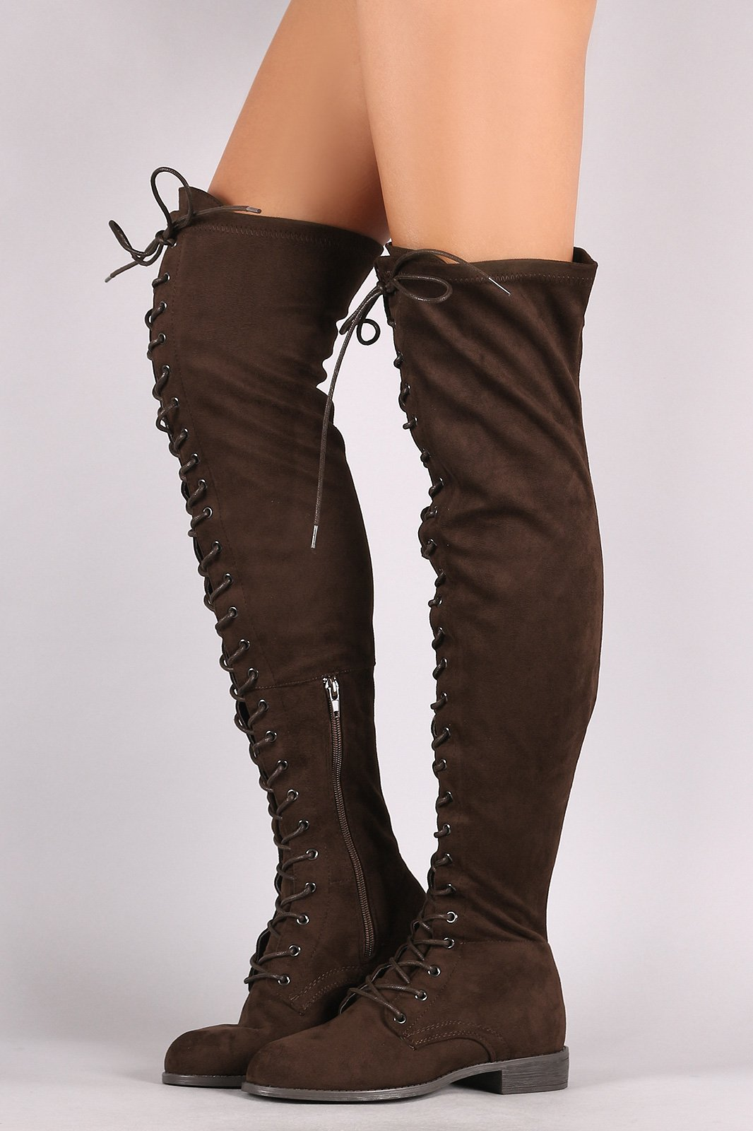 4e9ffc275d8a Wild Diva Lounge Suede Lace Up Over-The-Knee Combat Boots on Storenvy