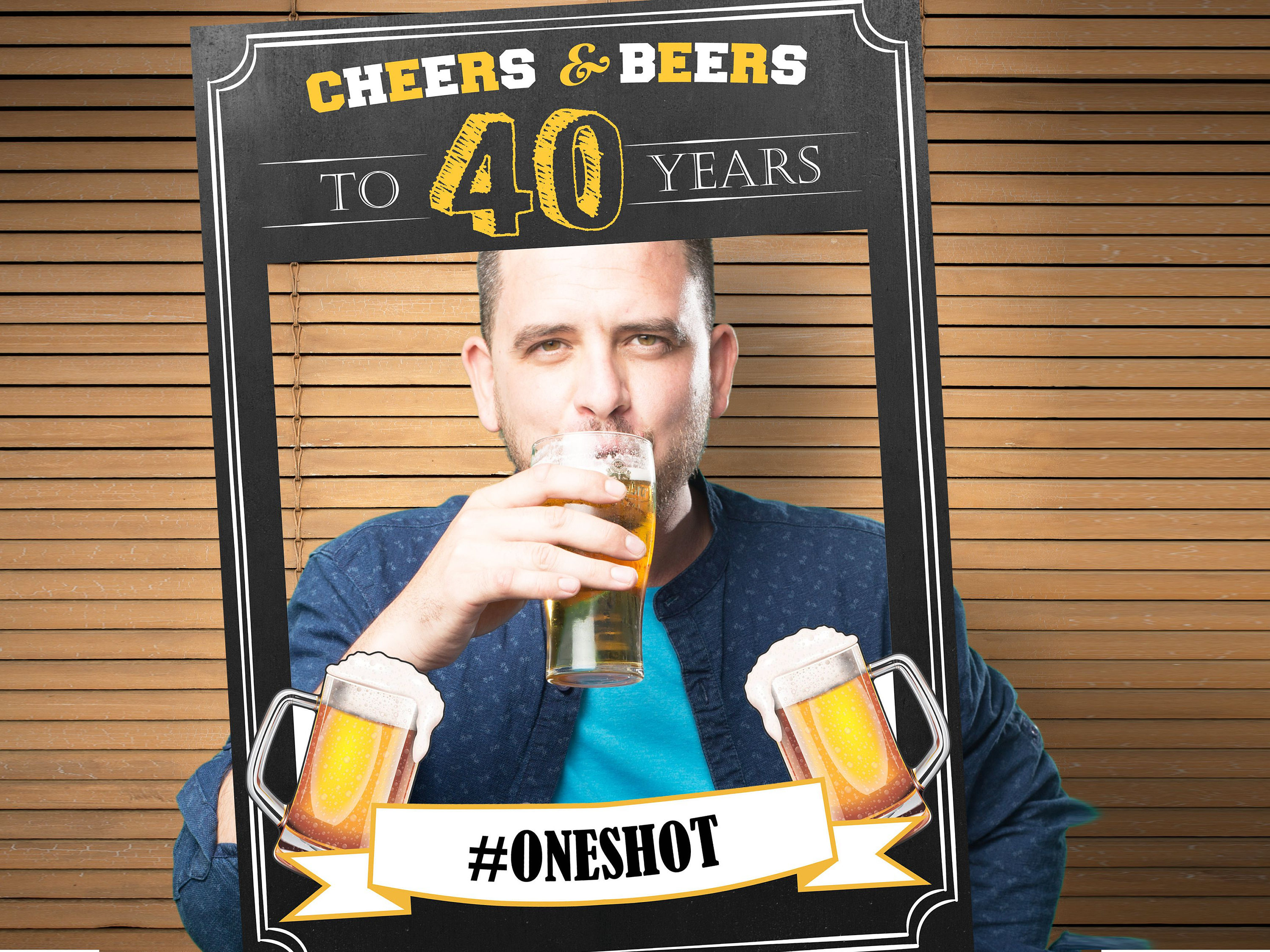 any age Cheers and Beer Selfie Frame Photo Booth Prop Poster