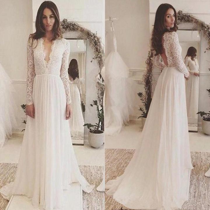 b9c0f752b2c8 Elegant Popular Lace top chiffon Deep V-neck long sleeve Open-back wedding  dresses, WD0345 · Romanbridal · Online Store Powered by Storenvy