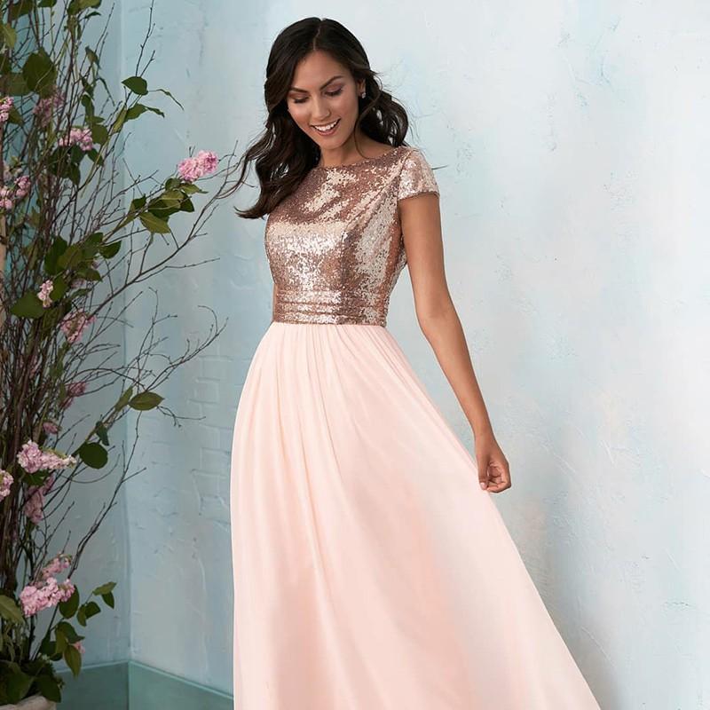 ae409f5cb43d Gold Sequin Short Sleeve Long Custom Cheap Bridesmaid Dresses Online ...