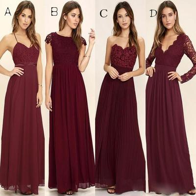 938545fae Mismatched Long Burgundy Chiffon Custom Bridesmaid Dresses Online, 18033