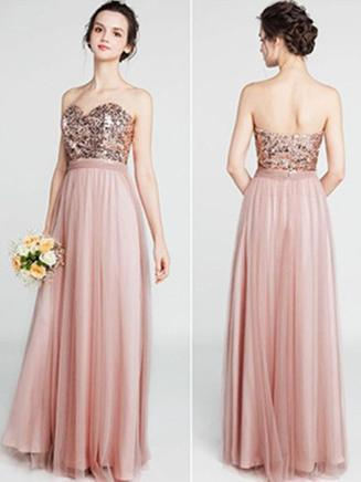 96c4ef358cf Rose Gold Sequin Bodice Tulle Skirt Long Cheap Bridesmaid dresses ...