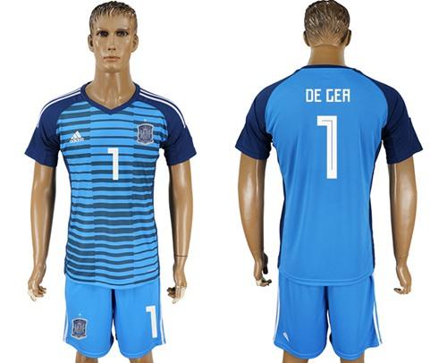 b96b4413c Spain  1 De Gea Blue Goalkeeper Soccer Country Jersey on Storenvy