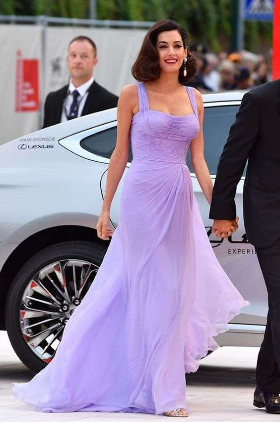 Inspired By Amal Clooney Celebrity Dresses A Line Chiffon Light Purple Ruched Prom Dresses Evening Formal Gowns From Wedding Store