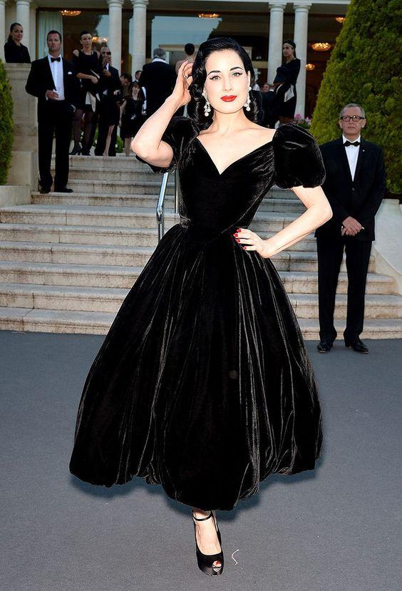 82eba36b7c Inspired by Dita Von Teese Celebrity Dresses Black Ball Gown Velvet ...