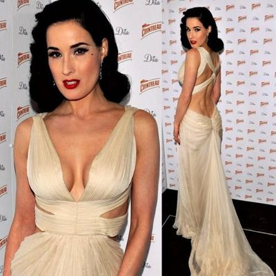 7ec88481af9 Inspired by dita von teese celebrity dresses mermaid sexy deep v neck pleat  ruched prom dresses
