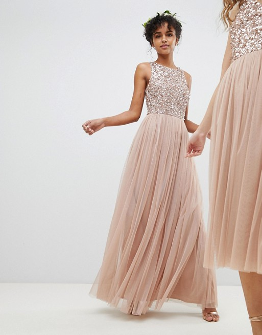 Sparkly Blush Sequins Bodice and Tulle Long Bridesmaid Dress from  modseleystore
