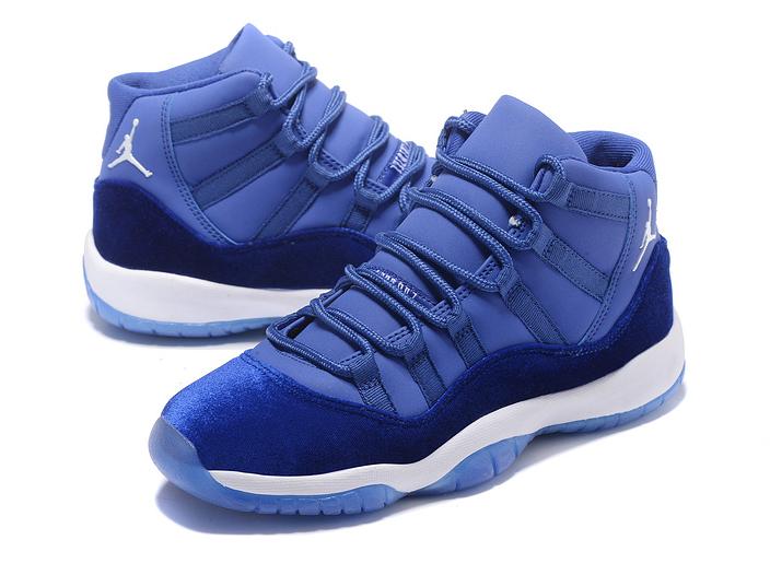 competitive price 9cf15 0ea76 Nike Air Jordan 11 Velvet Heiress Blue White Basketball Shoes