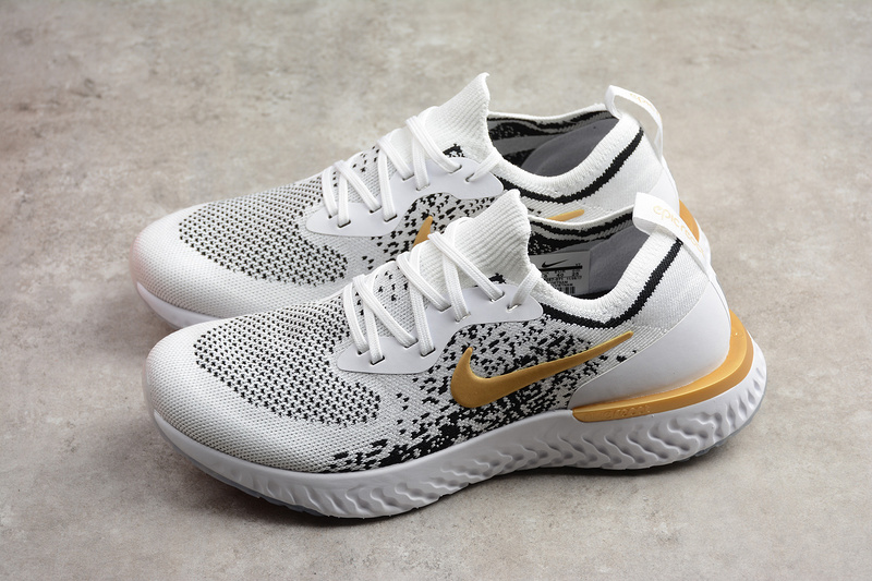 c4884aa122d Nike Epic React Flyknit White Gold Running Shoes on Storenvy