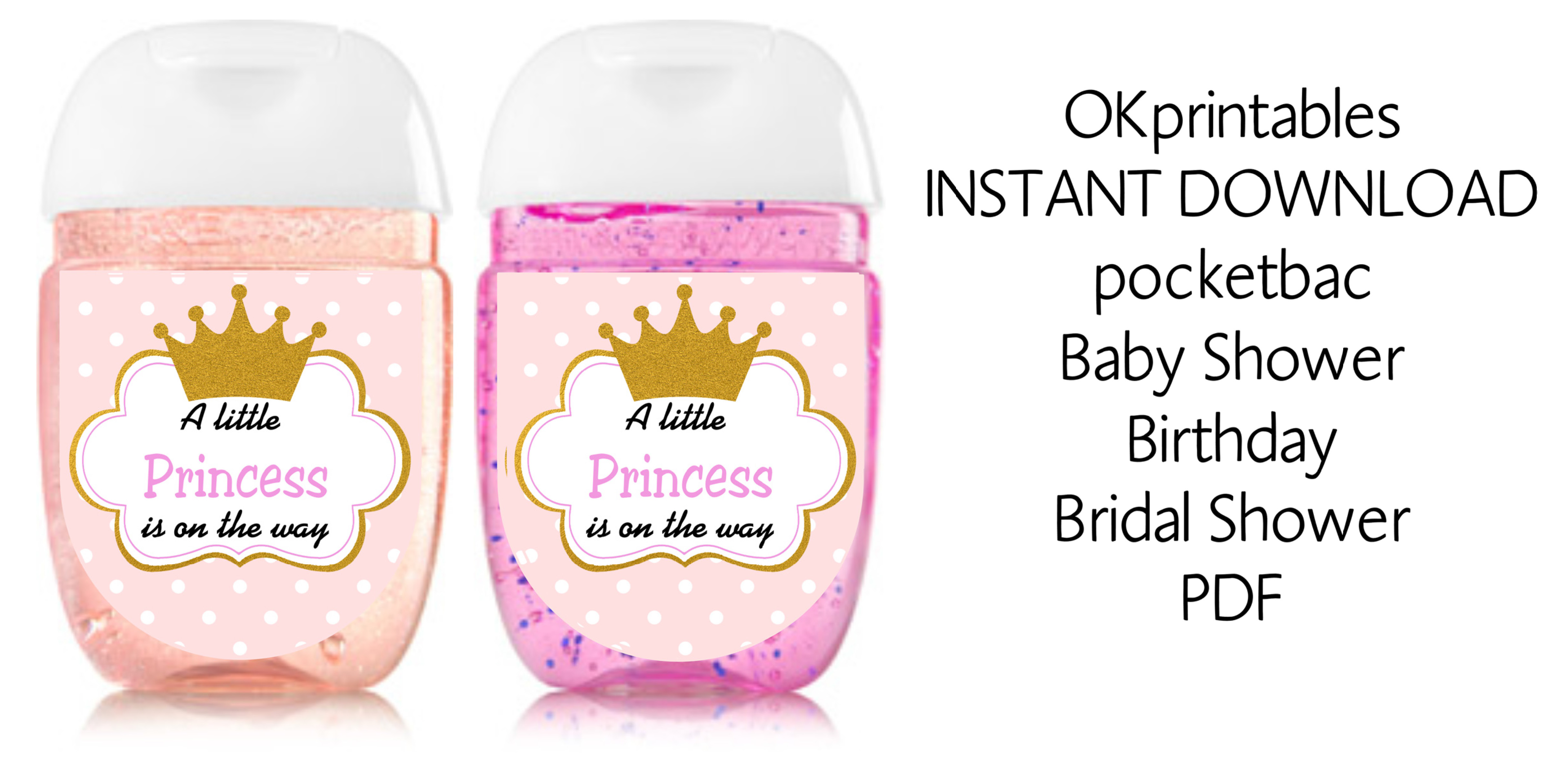 A little Princes is on the way Baby SHower mini hand sanitizer label,  Princess Hand sanitizer label 1oz, pdf - Bridal, baby shower, birthday sold  by