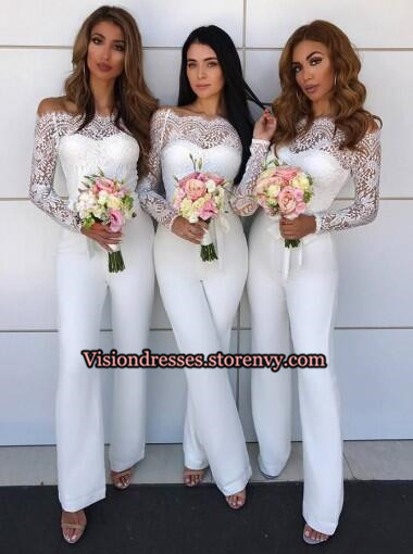 eac97b8ff6 White Off shoulder Long Sleeve Lace Top Bridesmaid Dresses ...