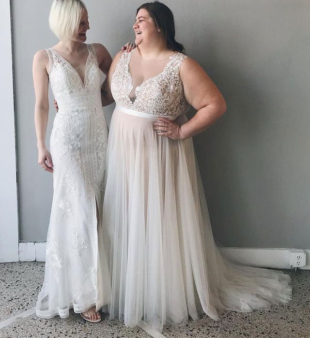 Plus Size Sheer Neck Tulle Wedding Dresses with Appliques from Wedding