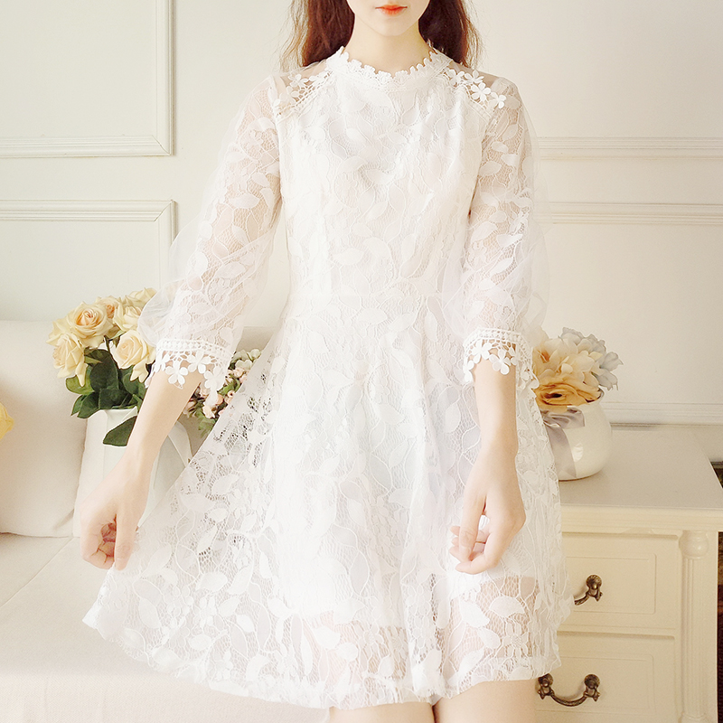 6ec55023c8a Kawaii Summer and Autumn White Lace Dress on Storenvy