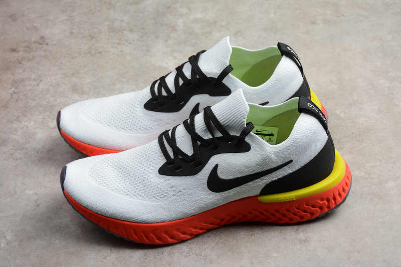 9ad93340ced0 Nike Epic React Flyknit True White Bright Crimson Running Shoes ...