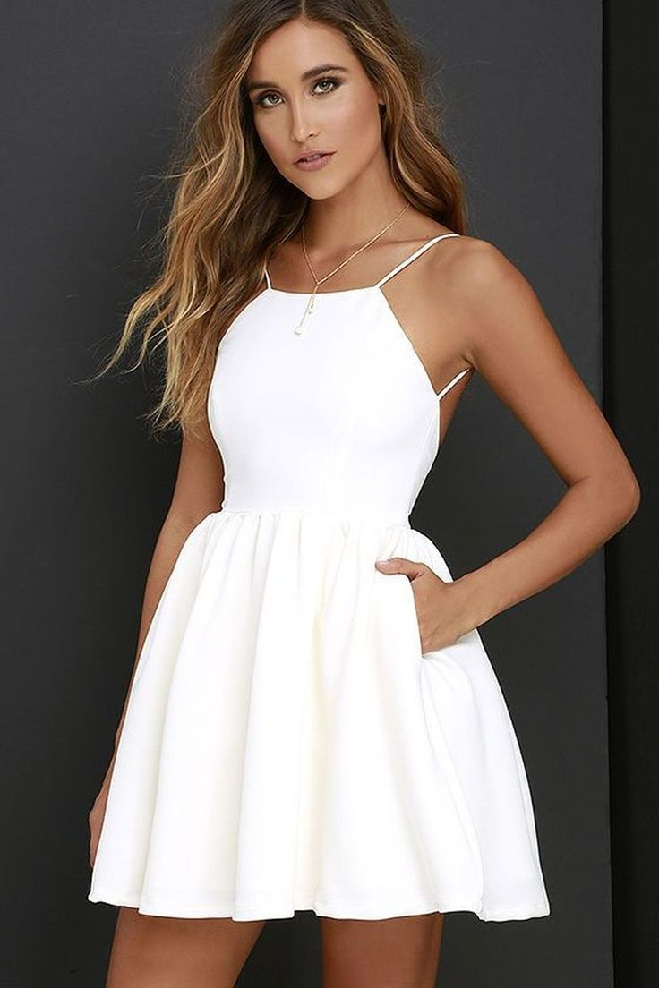 Cute White Halter Homecoming Dressmini Short Prom Dresssleeveless