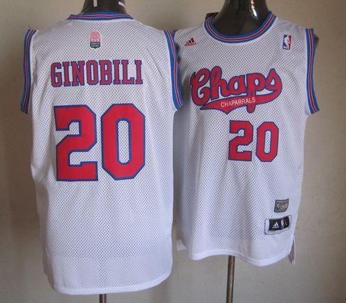 new concept 2e7fe 324d2 Spurs #20 Manu Ginobili White ABA Hardwood Classic Stitched NBA Jersey sold  by NBAJerseysales1