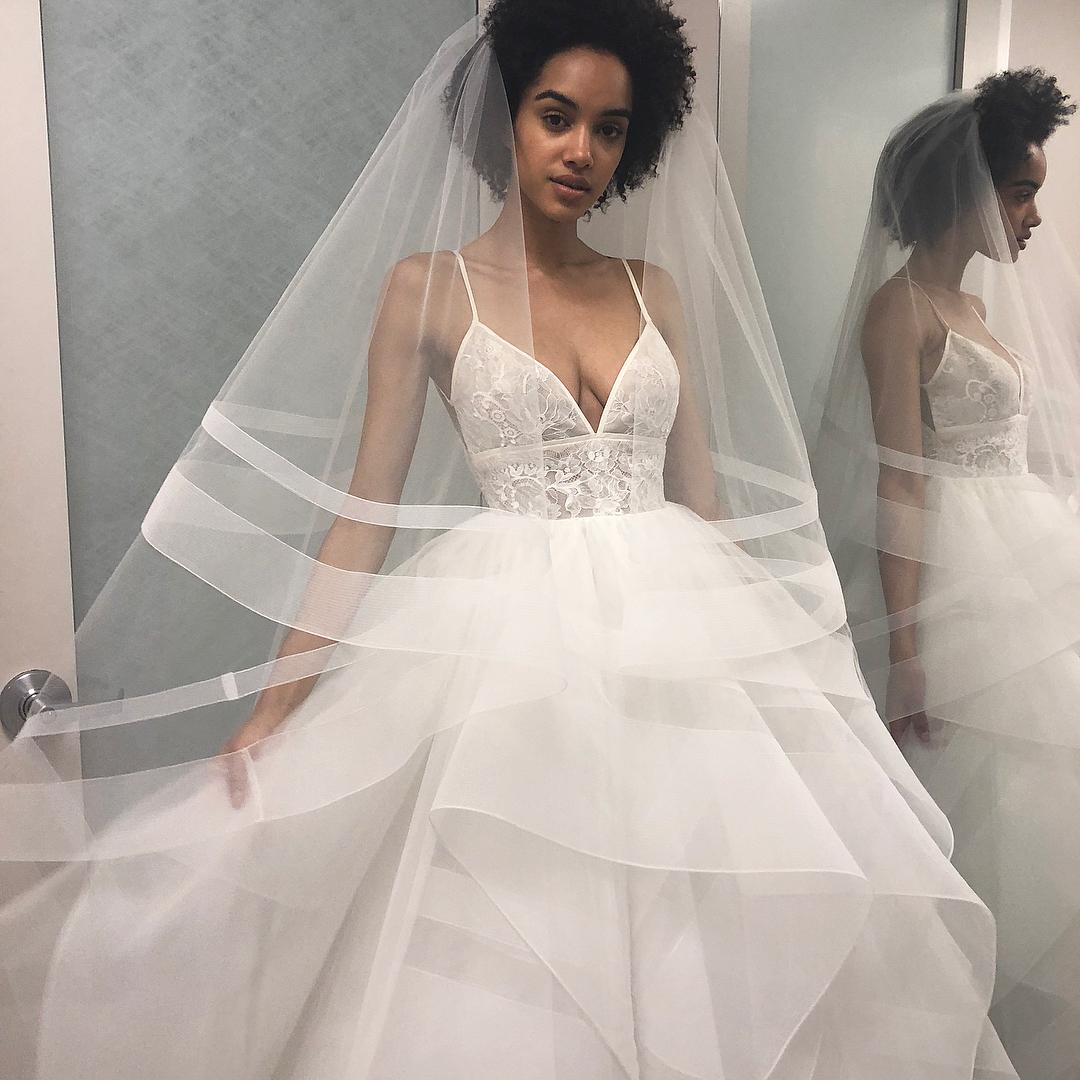 Straps V Neck White Long Bridal Gown on Storenvy