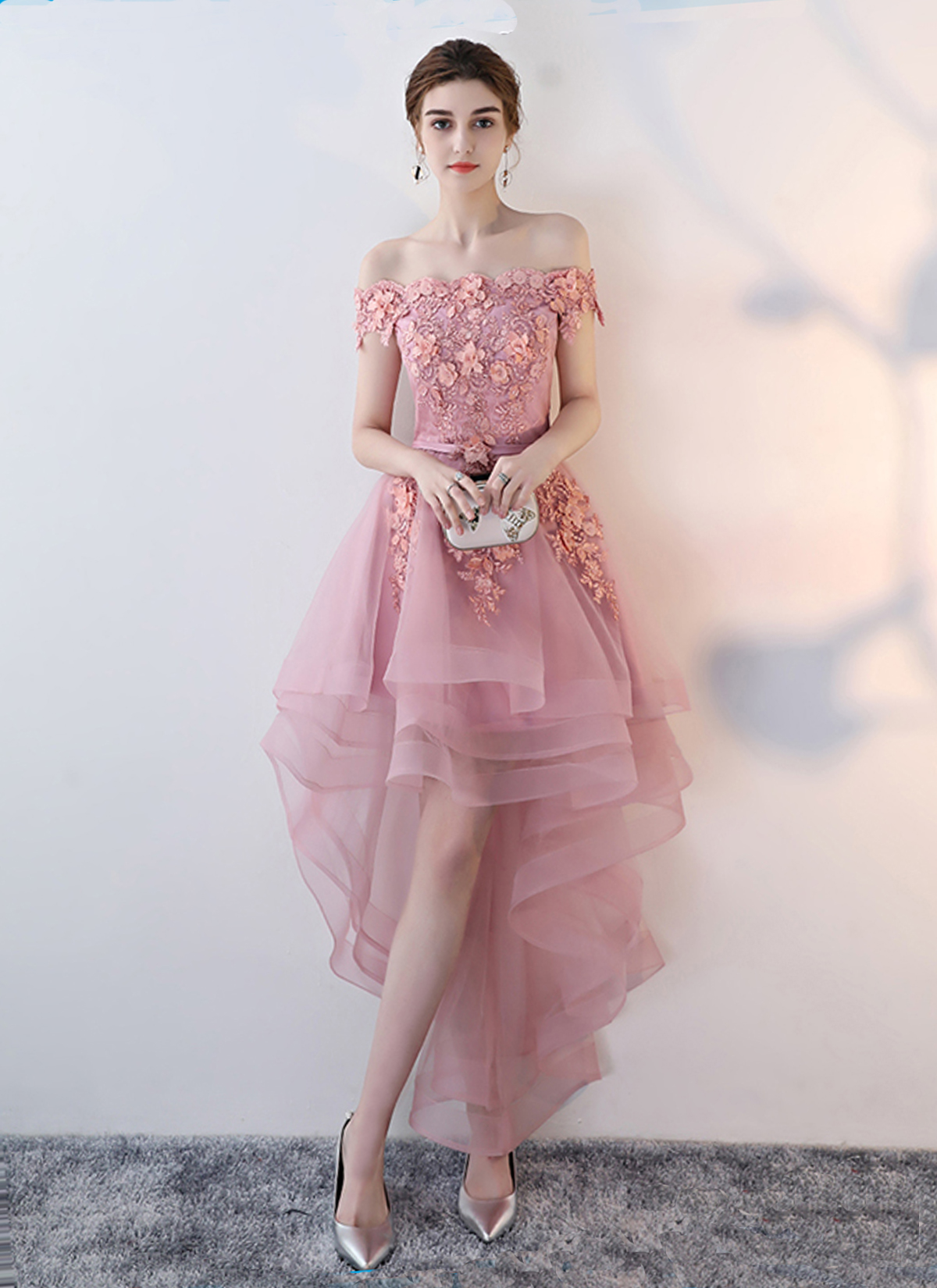 rich and magnificent 2018 sneakers special promotion Pink tulle off shoulder high low homecoming dress, party dress with lace  applique from Girlsprom