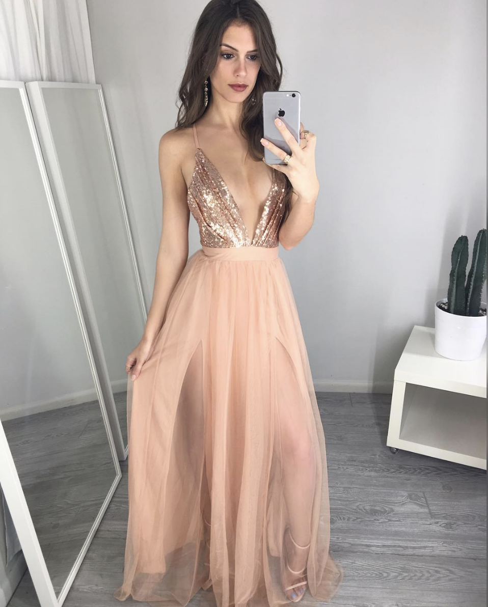 238ff71f013 Unique Deep V Neck Spaghetti Straps A-Line Long Prom Dresses