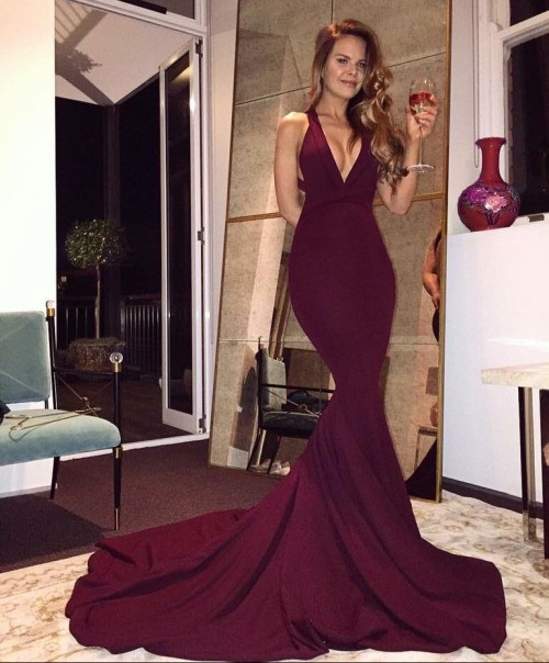 a4693cbcc2 Sexy Deep V Neck Burgundy Wine Red Long Prom Dress Criss-cross ...