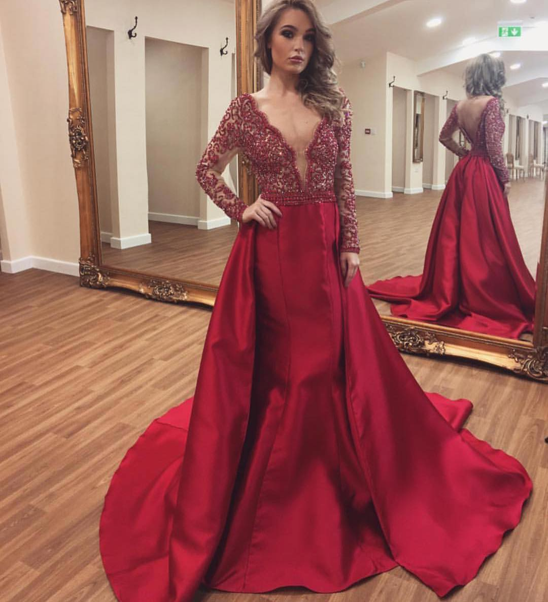 04fe1f24edf Burgundy Long Mermaid Prom Dress 2018 Sexy Open Back V-Neck Long Sleeve Lace  Appliques