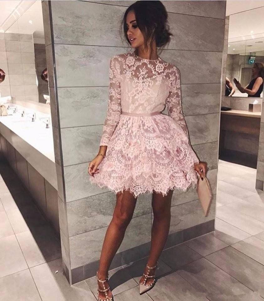 Pink Short Homecoming Dresses Long Sleeves Lace Short Prom Dresses Lace Tiered Short Homecoming Dress With Sleeves From Show By Style