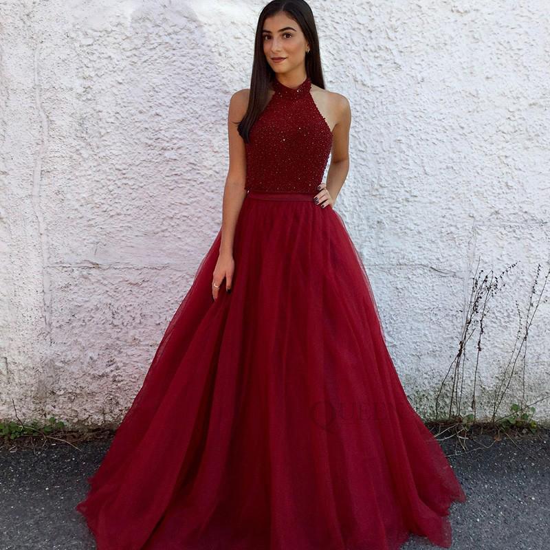 Designer Prom Dresses: Designer Burgundy Beaded Top A-line Tulle Halter Neck Long