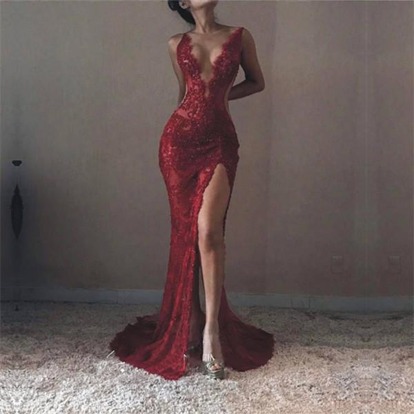 262a9e3e1b9 2019 Sexy V-neck Sleeveless Formal Evening Dresses Front-Split Lace Mermaid Prom  Dress