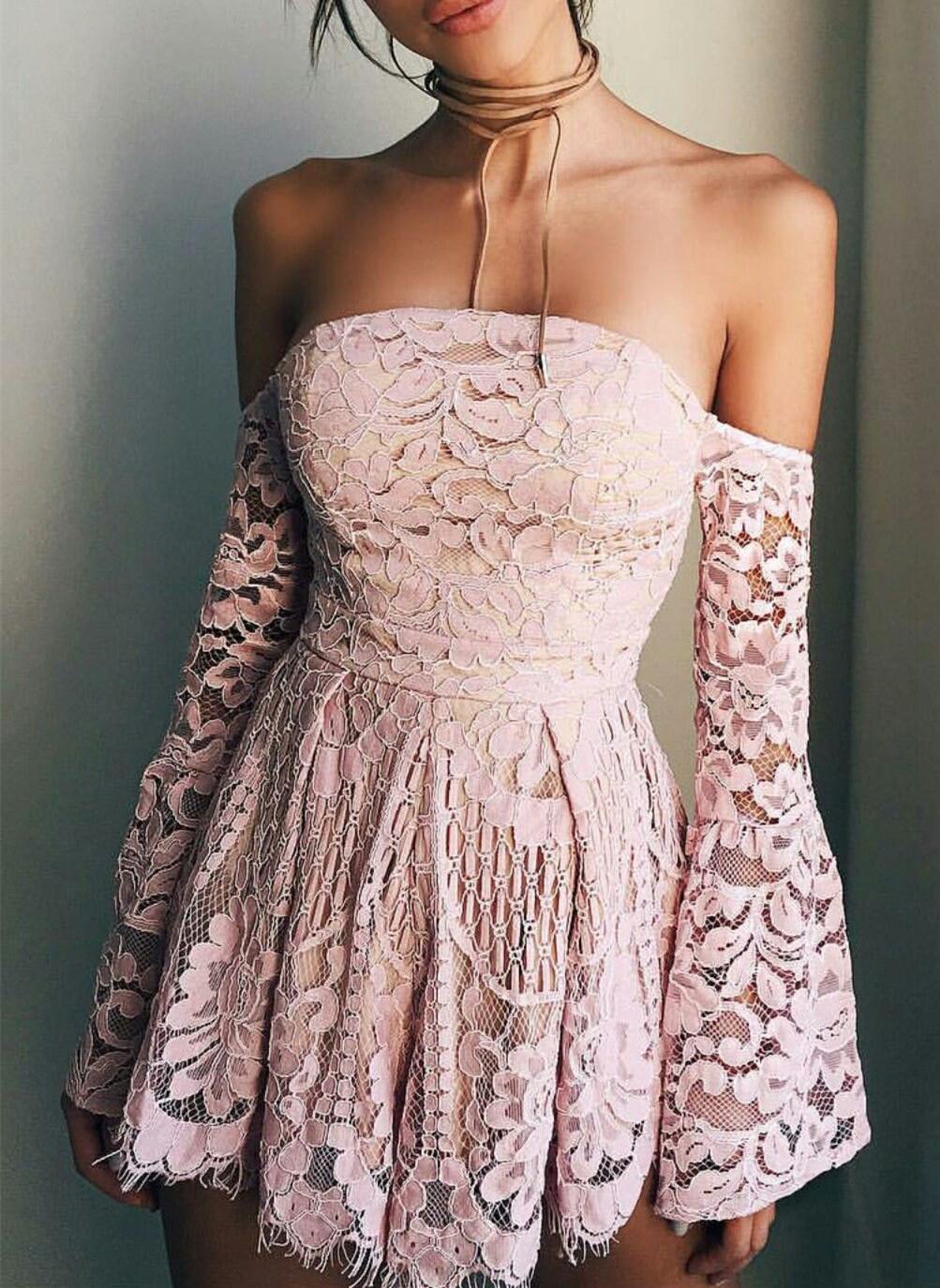 Hot Sale Blush Pink Lace Homecoming Dressesoff The Shoulder Long Sleeves Mini Graduation Dresses Party Dresses