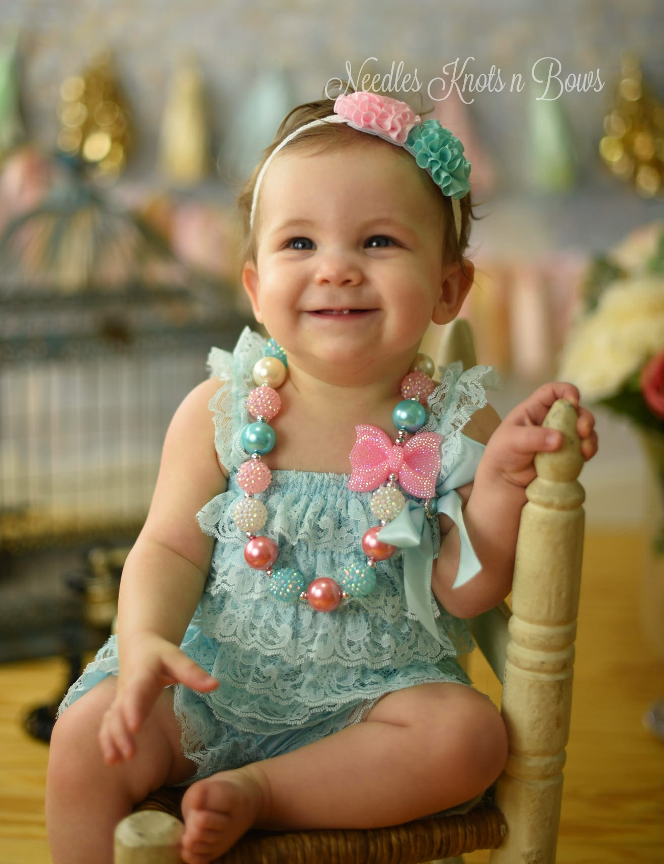 Baby Girl 1st Birthday Outfit.Baby Girls Coming Home Outfit Aqua Pink 1st Birthday Outfit Fairy Birthday Petti Lace Romper Girls Cake Smash Sold By Needles Knots N Bows