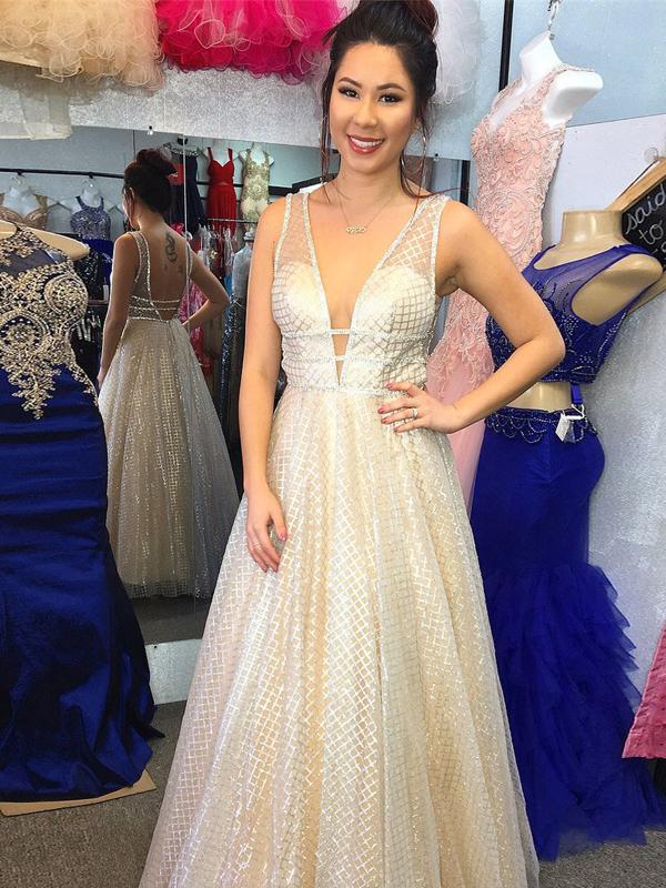d7f4dae49c6 A-Line Deep V-Neck Sparkly Long Prom Dresses