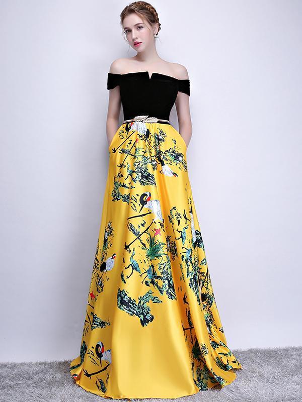 ba97b950728 A-Line Off Shoulder Yellow Satin Long Prom Dresses
