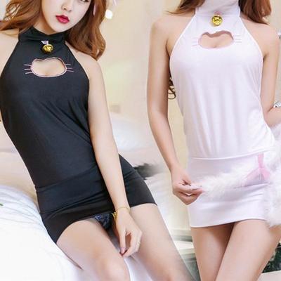 6dbec15d73f4 Black/white kawaii neko hollow out lingerie dress sp1812002