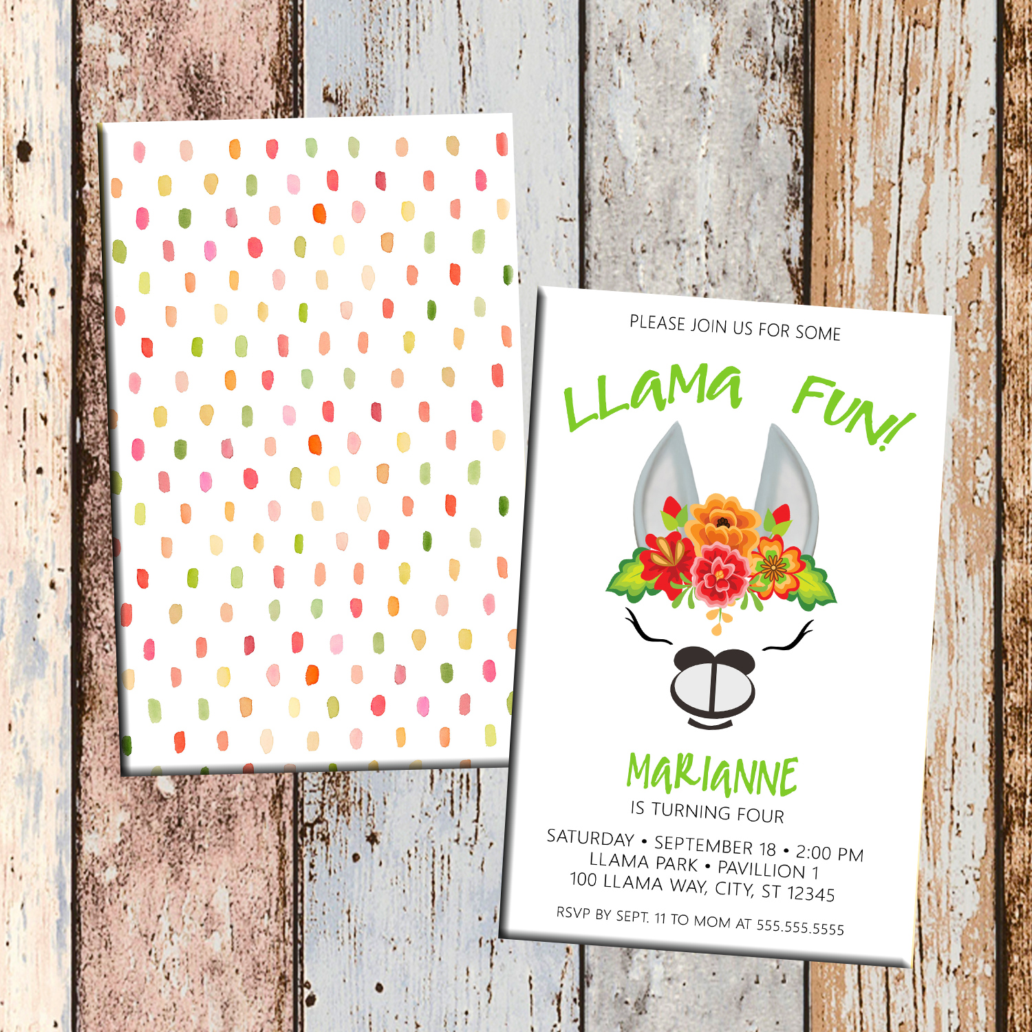 Llama Fun Alpaca Personalized Birthday Invitation 2 Sided Card