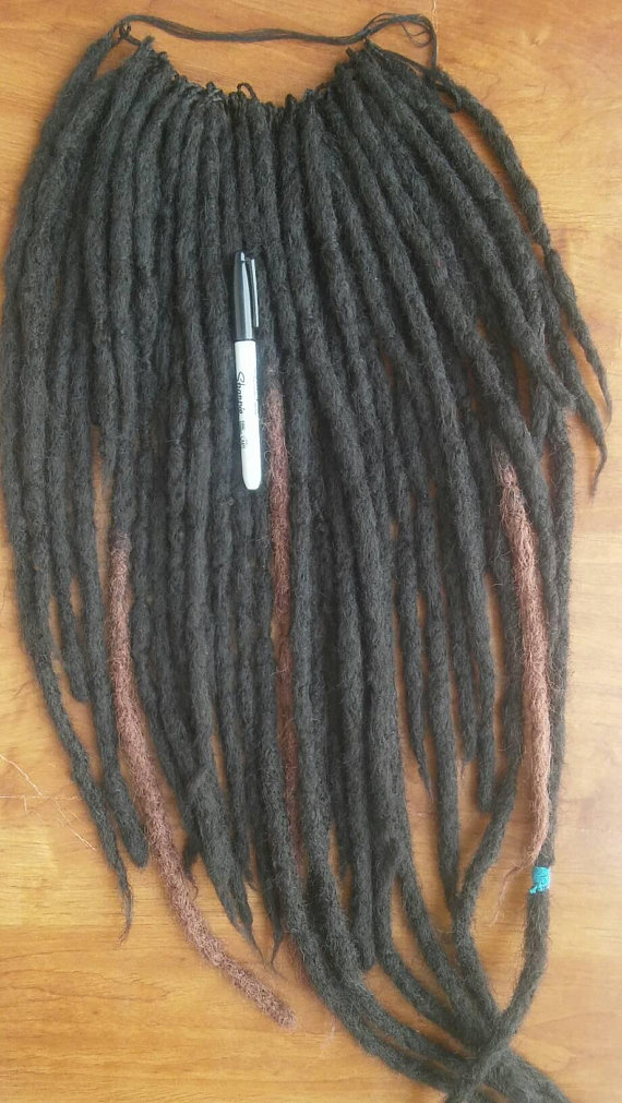 Handmade Black Crochet Dreadlock Extensions Long Black Brown Ombre