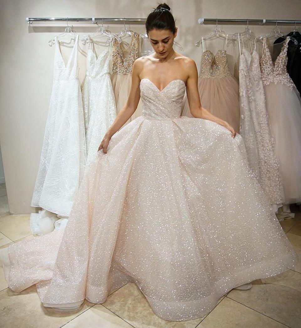 Wedding Dress White Glitter: Glitter Sweetheart Long Wedding Dress · Modseleystore