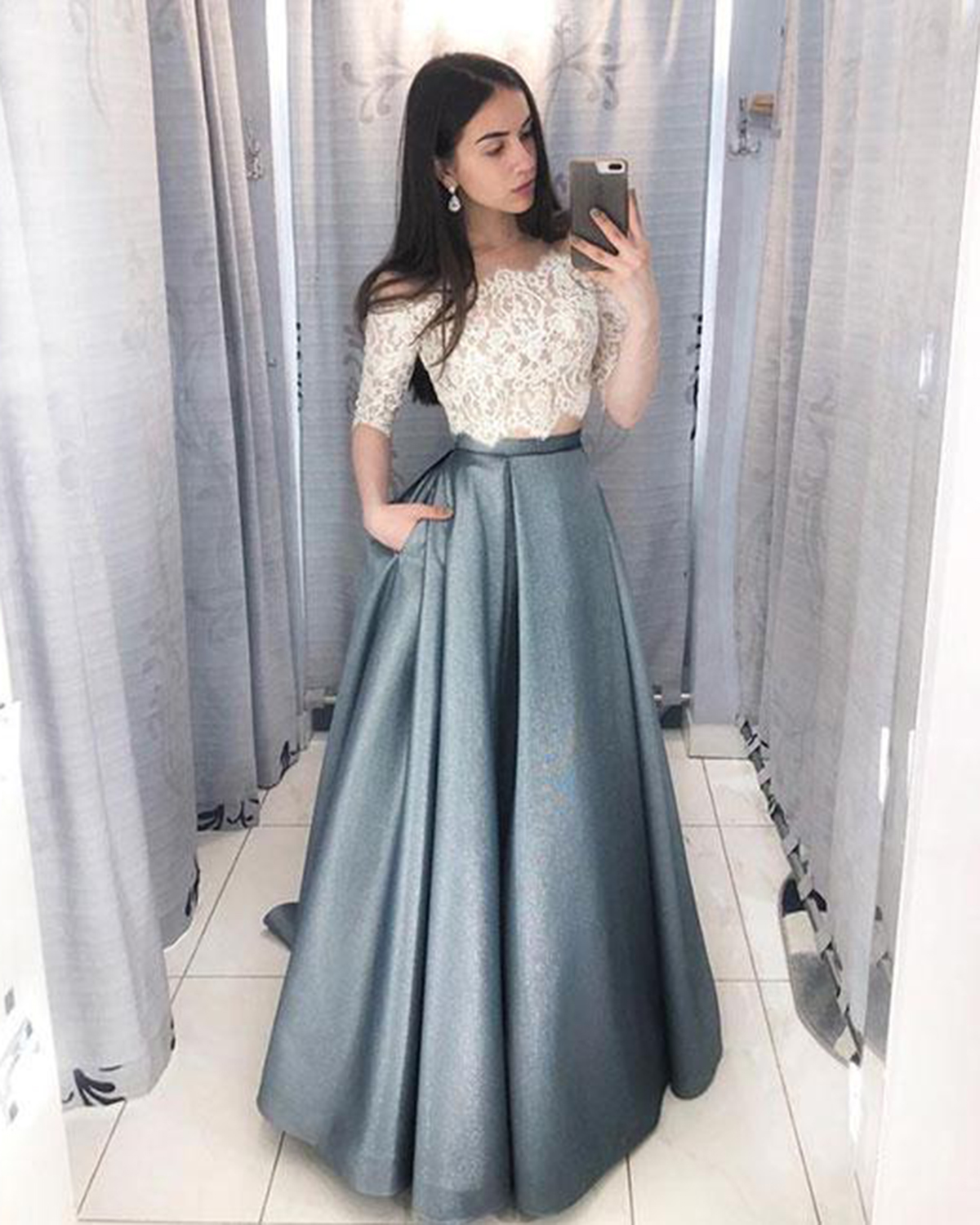 50f36472b7 White lace two piece long A-line prom dress with mid sleeve ...