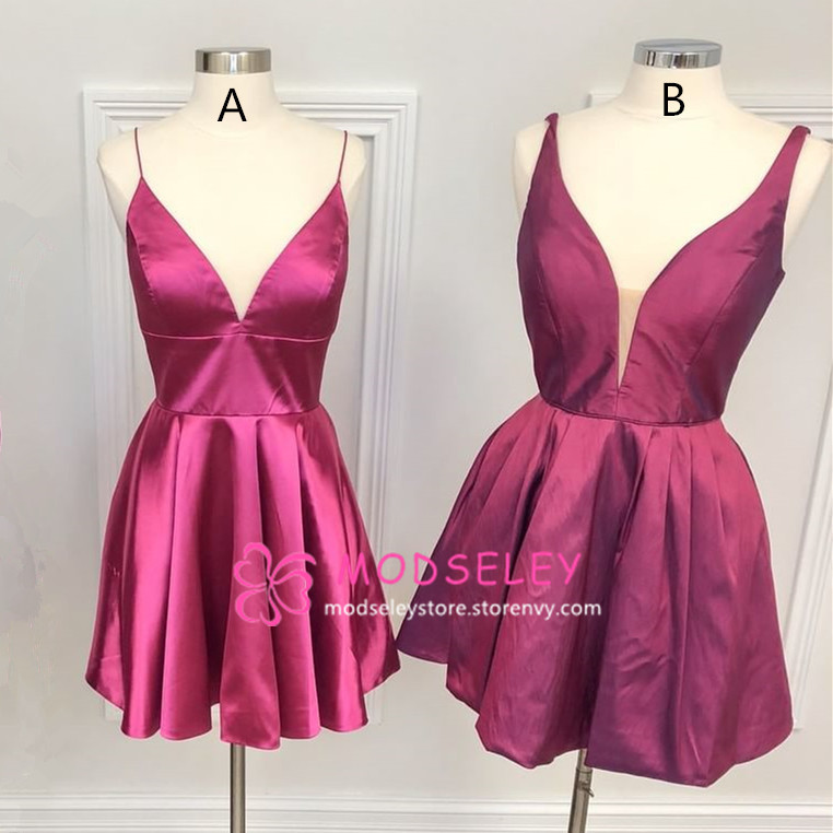 top-rated cheap fashion design 100% top quality Simple V Neck Short Fuchsia Homecoming Dress from modseleystore